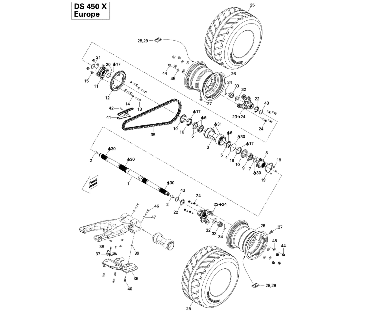 Hinterachse DS 450 X | Motor & Rahmen | DS 450 CE STD & X | 2009 ...