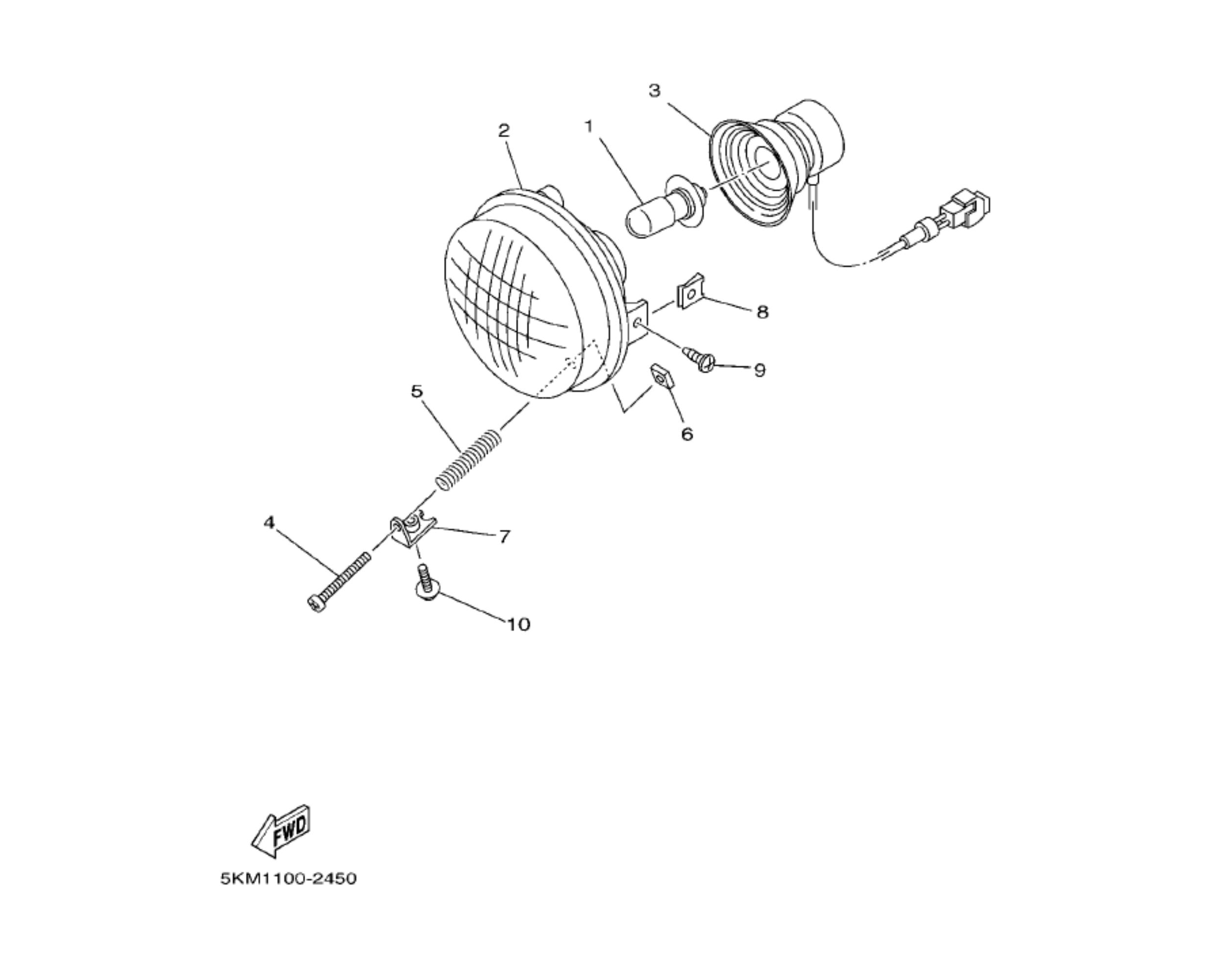 Scheinwerfer | Rahmen & Anbauteile | Grizzly 660 Bj. 2006 ... on